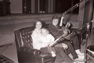 June Carter Cash, Johnny Cash, and their son, John Carter in 1975