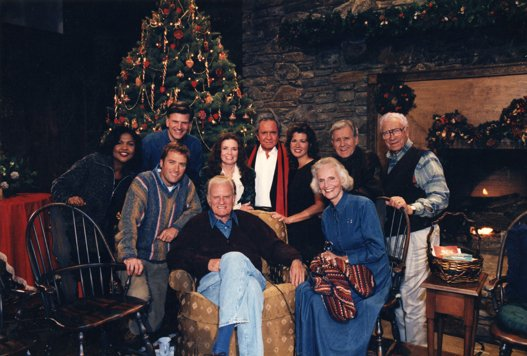 June Carter Cash and Johnny Cash take part in the 1996 'Billy Graham Christmas Special'