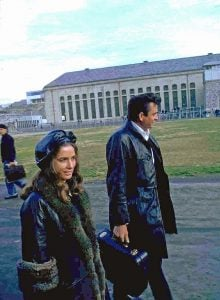 June Carter and Johnny Cash walk through the yard at Folsom Prison