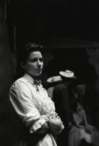 June Carter backstage at the Grand Ole Opry in July 1956