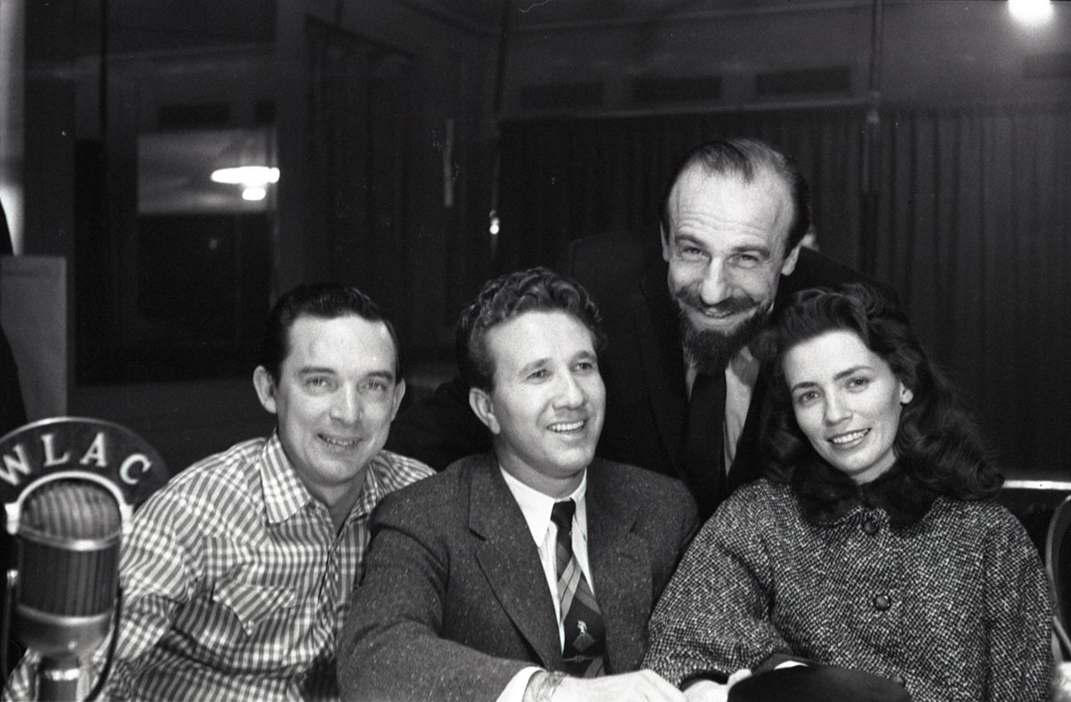 Ray Price, Marty Robbins, Mitch Miller (Head Of A&R, Columbia Records), and June Carter attend country music DJ convention in Nashville, TN, in 1956
