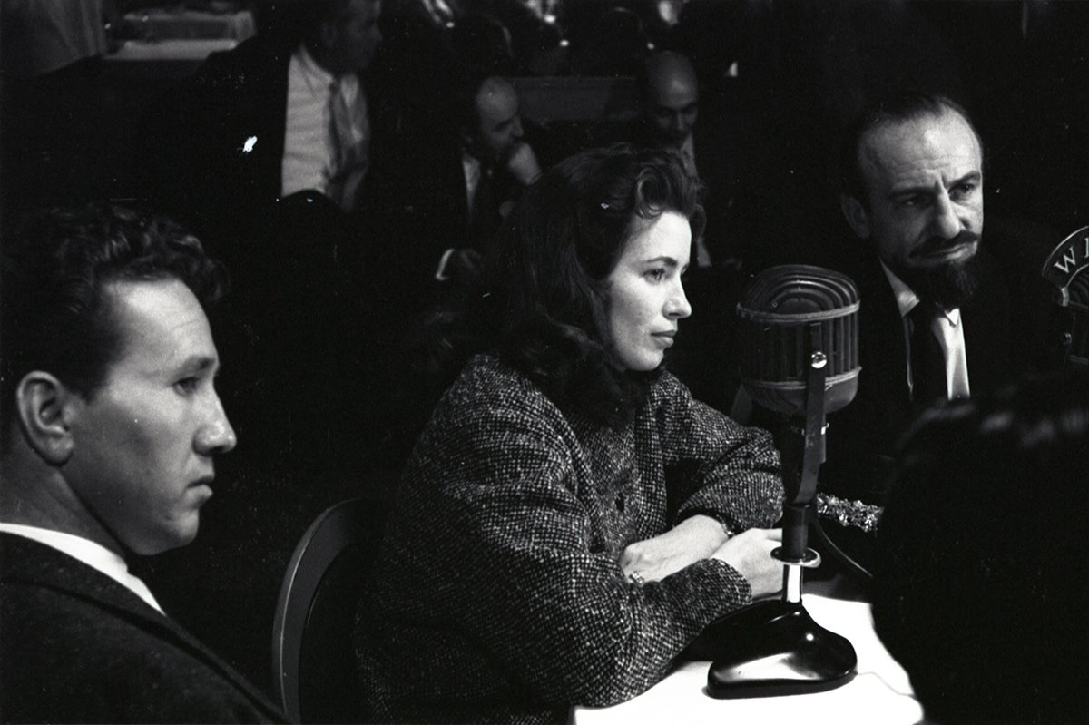 June Carter is interviewed on the radio with Marty Robbins and Mitch Miller (Head Of A&R, Columbia Records) at a country music DJ convention in Nashville, TN, in 1956