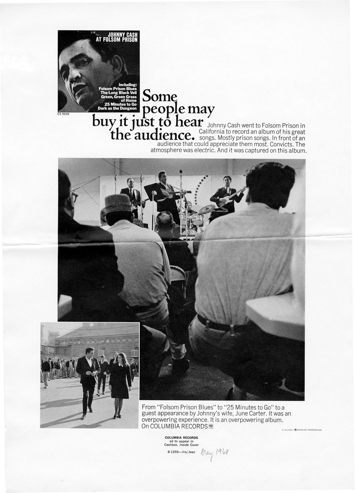 Johnny Cash 'At Folsom Prison' advertisement in Cashbox magazine in May 1968