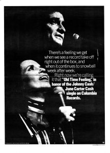 Columbia Records advertisement promoting Johnny Cash and June Carter Cash's 1976 single, 'Old Time Feeling'