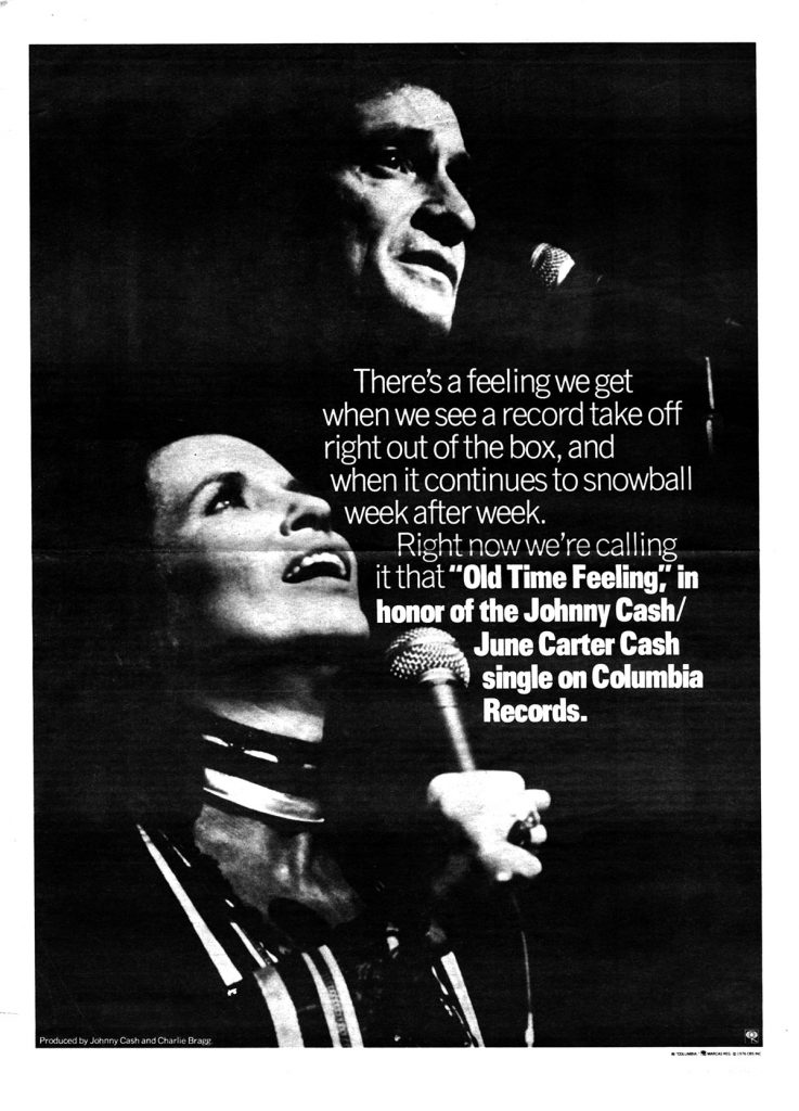 "Columbia Records advertisement promoting Johnny Cash and June Carter Cash's 1976 single, ""Old Time Feeling."""