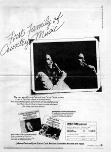 Columbia Records advertisement promoting Johnny Cash's 1975 album, 'Look At Them Beans,' and June Carter Cash's album, 'Appalachian Pride'
