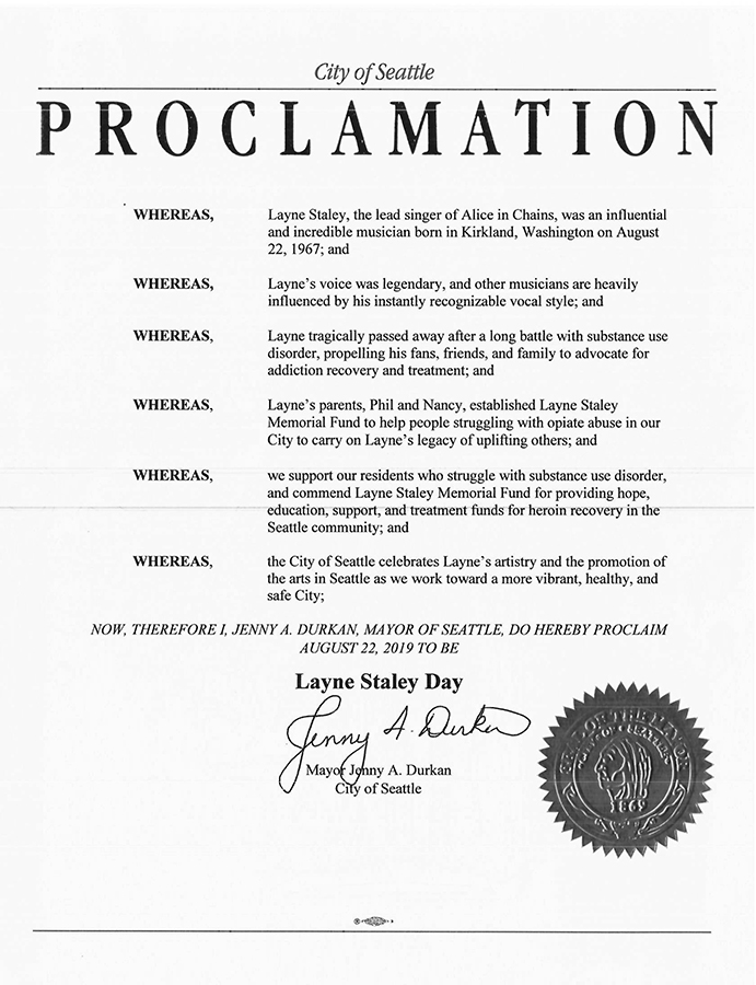 "City of Seattle To Officially Declare Aug. 22 As ""Layne Staley Day"""