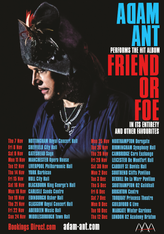 ADAM ANT TO PERFORM FRIEND OR FOE IN FULL LIVE
