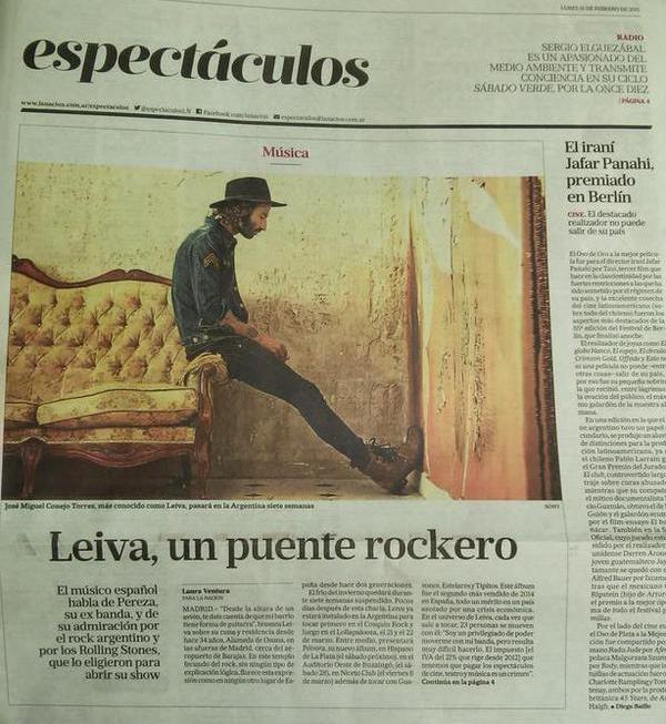 Leiva web oficial leiva en portada del suplemento for Las ultimas noticias del espectaculo argentino