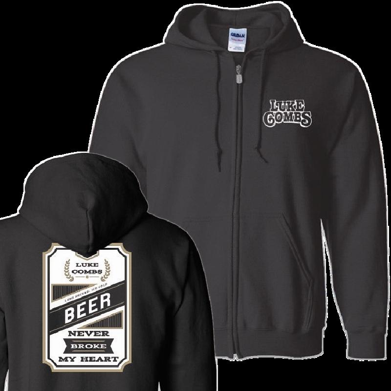 Luke Combs Beer Never Broke My Heart: Beer Never Broke My Heart Zip Up Hoodie