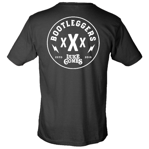 LC bootleggers black tee with round logo back