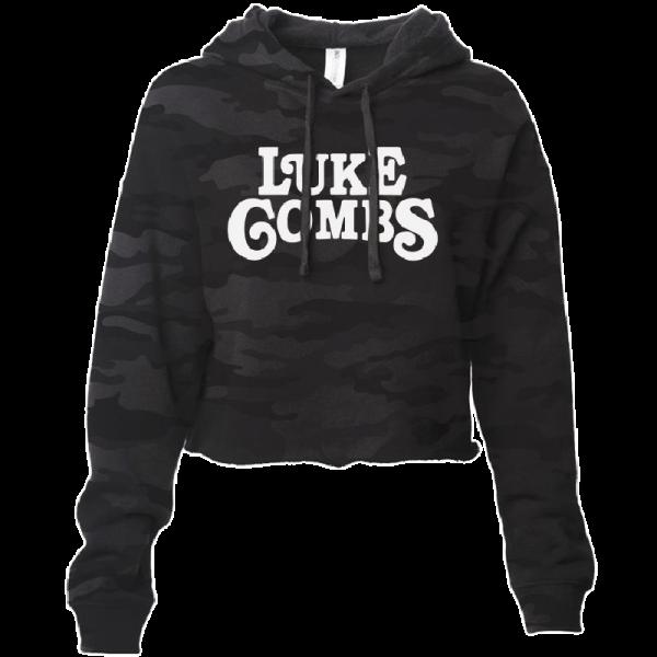 LC ladies black camo crop hoodie