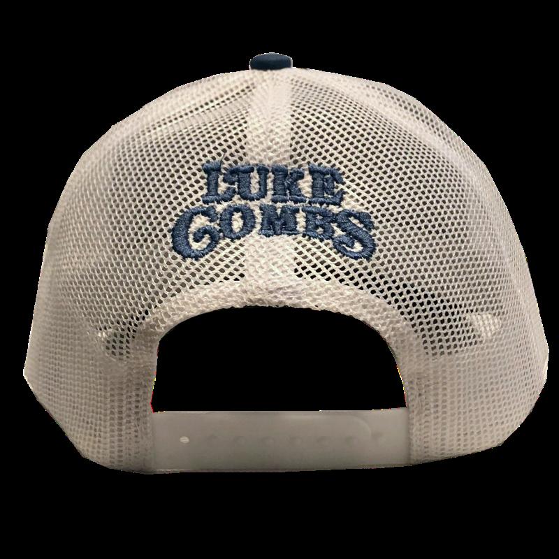 LC slate blue and white ballcap back
