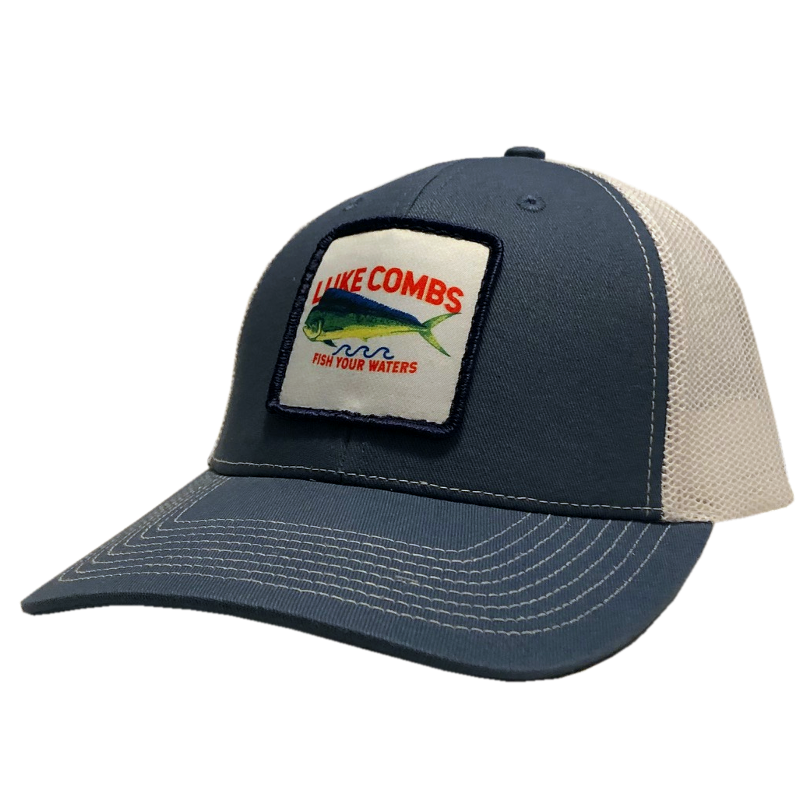LC slate blue and white ballcap