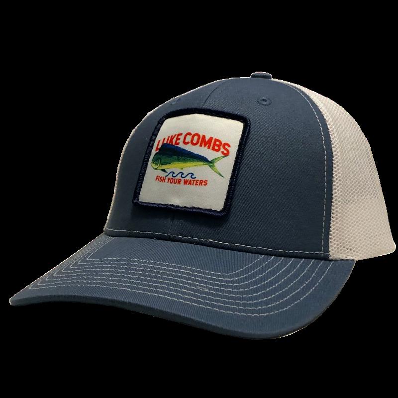 LC slate blue and white ballcap