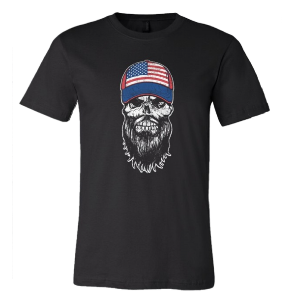 LC american skully black tee front