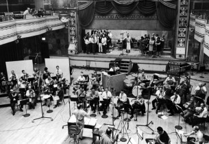 The recording session (Zero Mostel, center on stage)