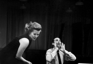 Janis Paige and cast album producer Goddard Lieberson