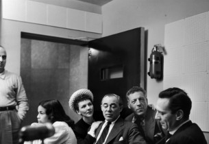 In the control booth - Barbara Luna, Mary Martin, composer Richard Rodgers, Ezio
