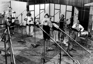 The cast in the studio, from l. to r.: Ken Page, Charlaine Woodard, Armelia McQu