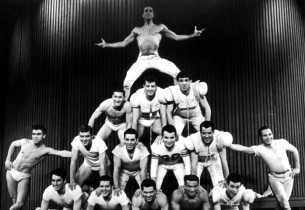 """Physical Fitness"": a human pyramid (Photo: Friedman-Abeles)"