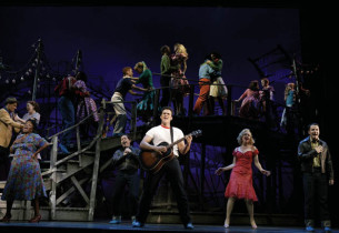 """All Shook Up"" Cheyenne Jackson (foreground) Jonathan Hadary, and Leah Hocking w"