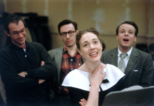"""Wouldn't It Be Loverly"": Julie Andrews and members of the cast, with Reid Shelt"