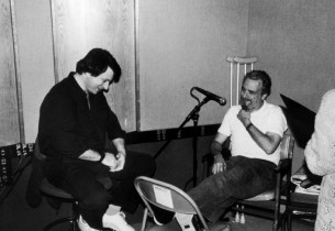 Jay David Saks, record producer, and Stephen Sondheim (Photo: Nick Sangiamo)