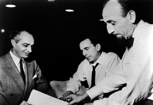 Composer Arthur Schwartz, record producer Goddard Lieberson, and music director
