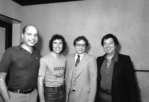 Record producer Mike Berniker, Jim Dale, Columbia A&R executive Mickey Eichner, and composer Cy Coleman (Photo: Don Hunstein)