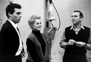 Sydney Chaplin, Judy Holliday, and Goddard Lieberson