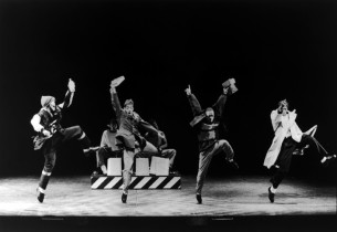 from l. to r.: Savion Glover, Vincent Bingham, Jimmy Tate and Baakari Wilder