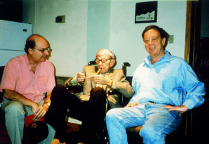 Record producer Mike Berniker, George Burns, and composer Cy Coleman
