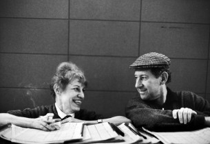 Lotte Lenya and Jack Gilford in the control room