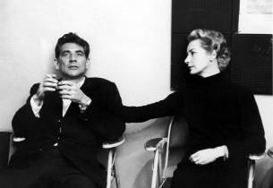 Composer Leonard Bernstein and his wife, Felicia Montealegre