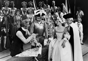 Max Adrian, Louis Edmonds, Barbara Cook and Robert Rounseville in a scene from t