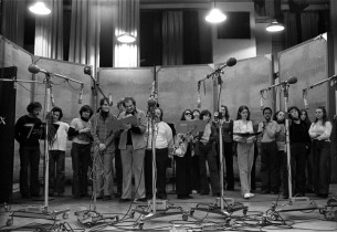The cast on stage in the recording studio (Photo: Don Hunstein)