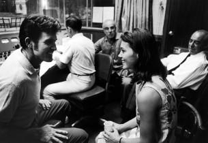 John Raitt and Susan Watson talking between takes, while composer Richard Rodger