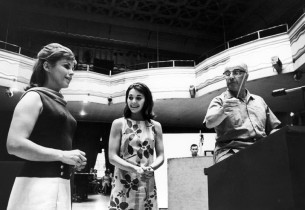 Eileen Christy and Susan Watson, with music director Franz Allers