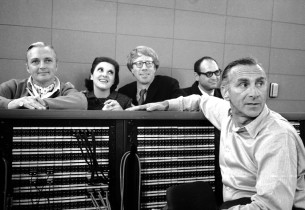Jack Cassidy, Linda Lavin, Michael O'Sullivan, composer Charles Strouse, and rec
