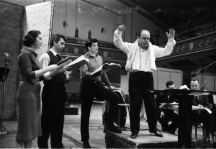 Sadie McCollum, Michael Kermoyan, Peter Palmer and music conductor Lehman Engel
