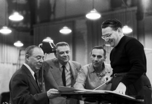 Richard Rodgers and Oscar Hammerstein II, with record producer Goddard Lieberson