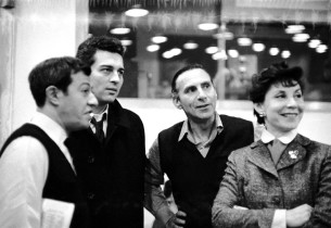 Co-lyricist Adolph Green, Sydney Chaplin, record producer Goddard Lieberson, and Betty Comden
