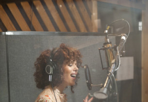 Janet Dacal in the vocal booth (Photo:Jimmy Asnes)