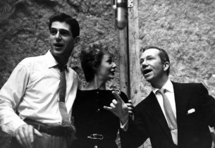 In the recording studio, Stephen Douglass, Gwen Verdon and Ray Walston during a