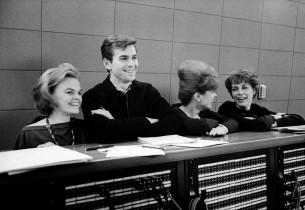 In the control room: Madeleine Sherwood, Stuart Damon, Julienne Marie and Elizab