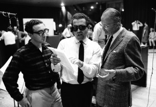 Sheldon Harnick and Jerry Bock, with record producer George Marek (Photo: Marvin