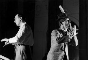 Orchestra conductor Ray Charles and leprechaun David Wayne