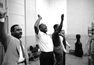 "Bill Glover, Tiger Haynes, Jerry Laws and Sorrell Booke recording ""The Begat"""