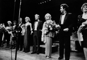 Stephen Sondheim and his all-star cast, l. to r.: Liliane Montevecchi, Elaine St